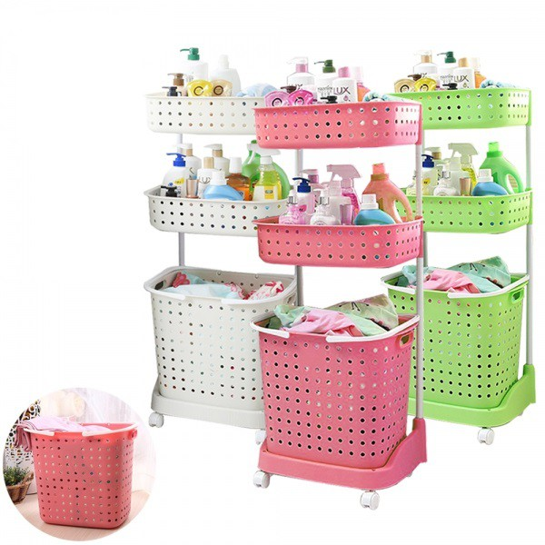 JAPANESE STYLE 3 TIER LAUNDRY BASKET ORGANIZER RACK WITH WHEELS
