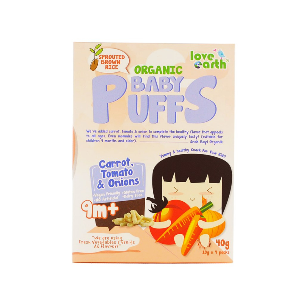 Organic Baby Puffs Carrot, Tomato & Onions 40G (10G X 4 Serving)