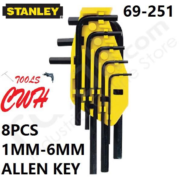 69-251 1MM-6MM STANLEY 8PCS HEX DRIVER ALLEN KEY SET 69251