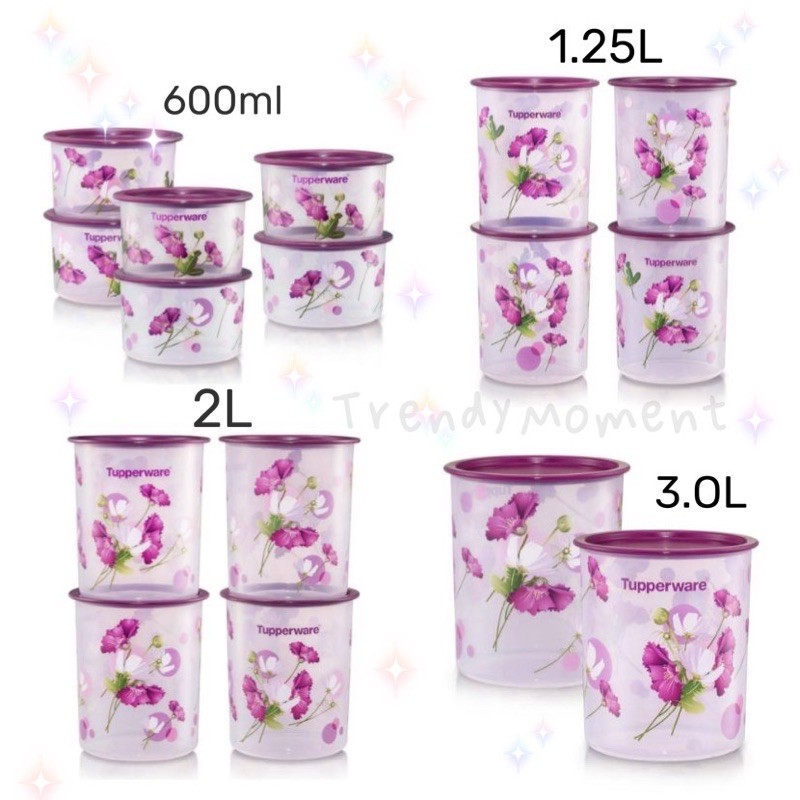 🌸READYSTOCK🌸 Tupperware Royale Bloom One Touch Canister Junior 1.25L /Medium 3L / Small 2L