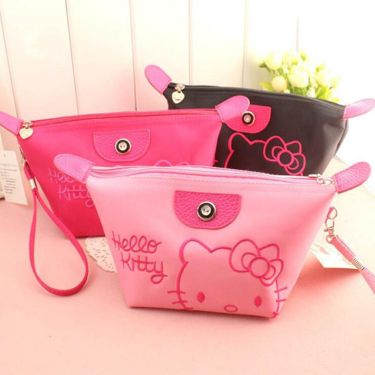 210d345555 Hello Kitty Portable Travel Cartoon Cosmetic Bag Makeup Bag