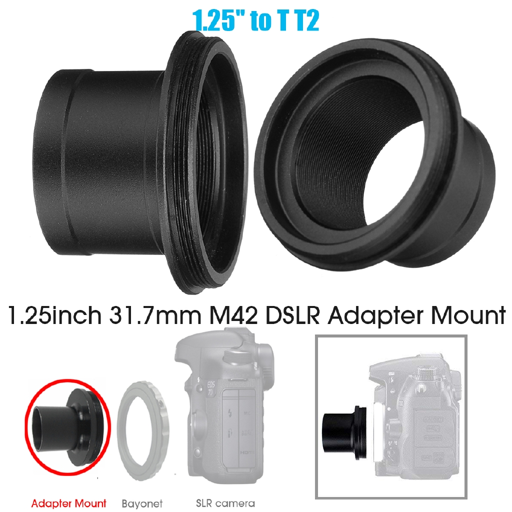 1.25 inch Telescope Adapter Mount and T2 Adapter for Nikon D-SLR Camera