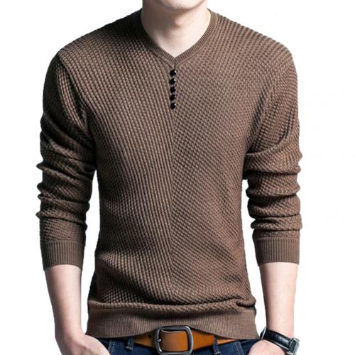 2020 New Sweaters Men Solid Color V Neck Long Sleeve Pullover Knitted Sweater Mens Casual Knitwear