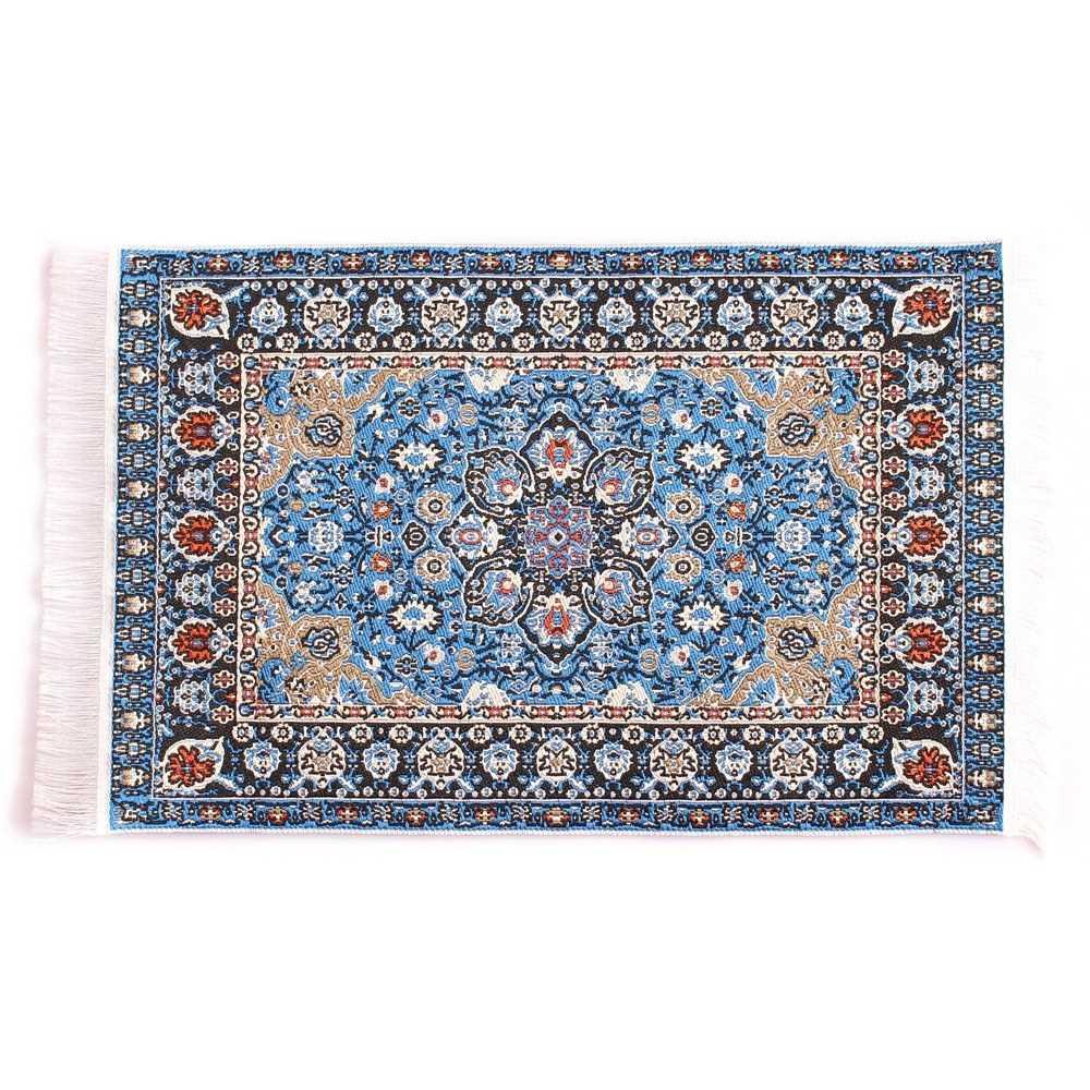 Mini Toy Stylish Miniature 1/12 Scale Turkish Woven Carpet Blanket Rug Dollhouse Toy Accessory (Blue)
