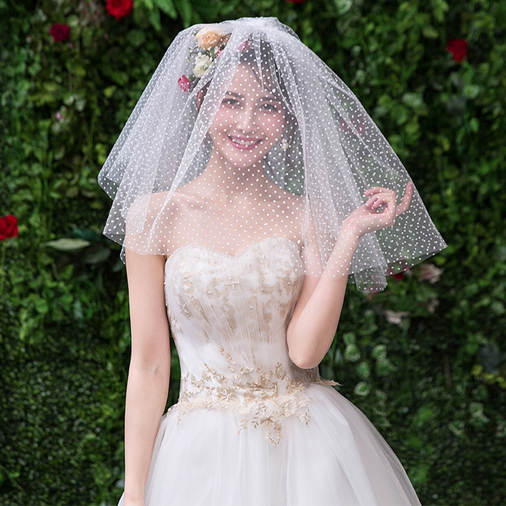 42eb02445f83d Short Ivory Fashion Accessories For Bride Polka Dot Hair Charming Bridal  Veils