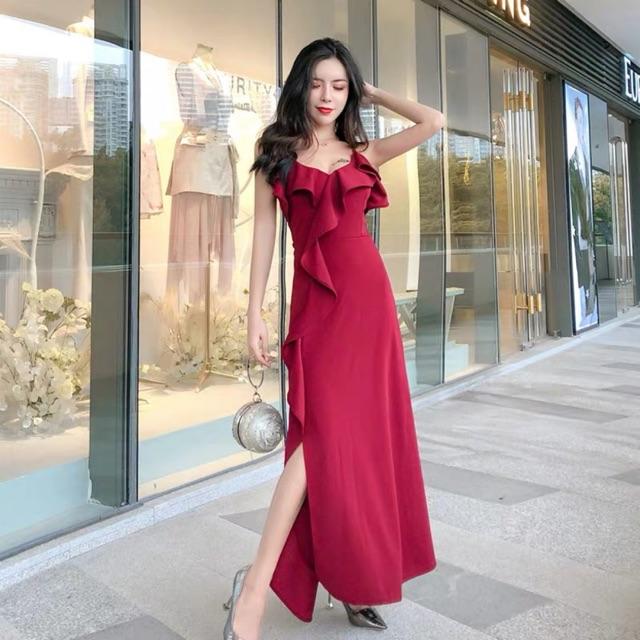 [Free Size]Annual Dinner Dress ruffled suspender dress 夏装新款气质中长款荷叶边吊带连衣裙开叉酒红色晚礼服裙女装