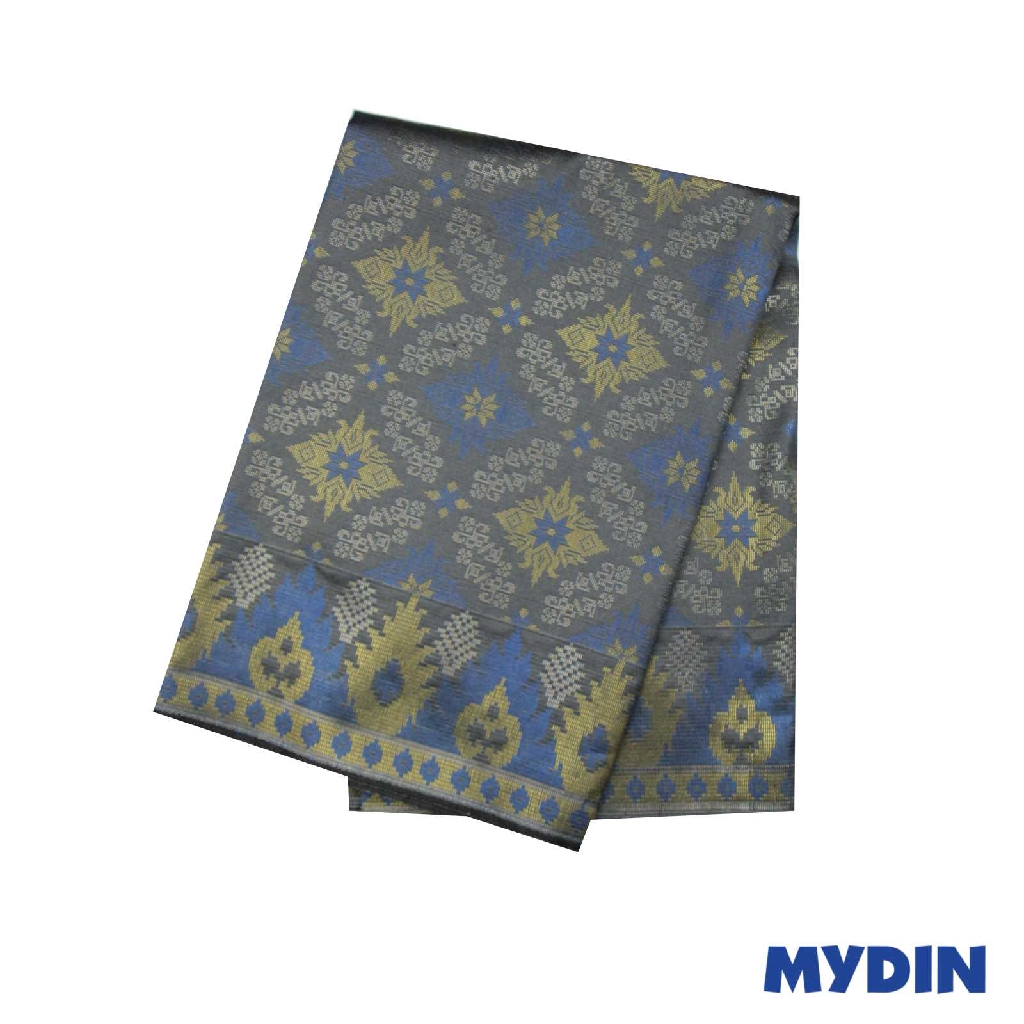 "Men Sampin - Blue Gold On Grey with Designs (2.25m X 36"") 0819PECDD01 #Raya"