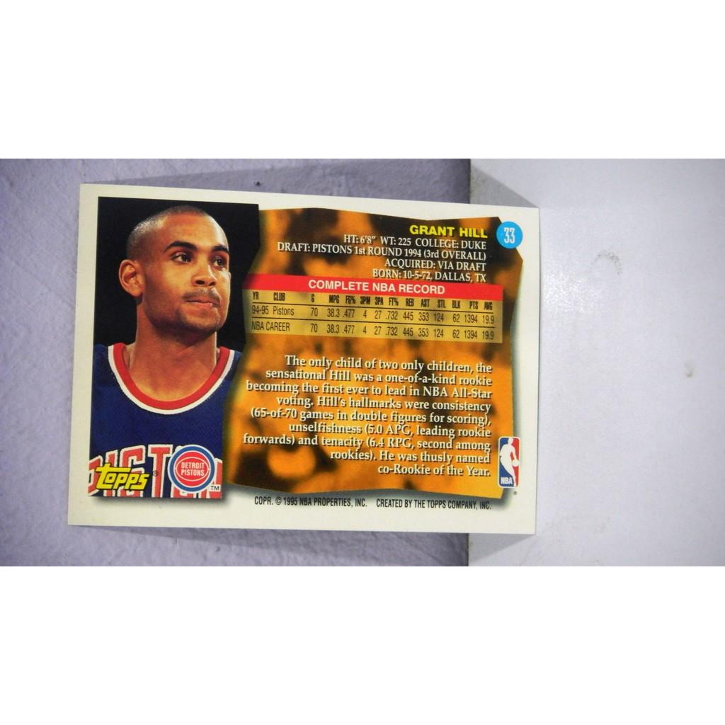 95 96 Topps 33 Grant Hill Nba Trading Card