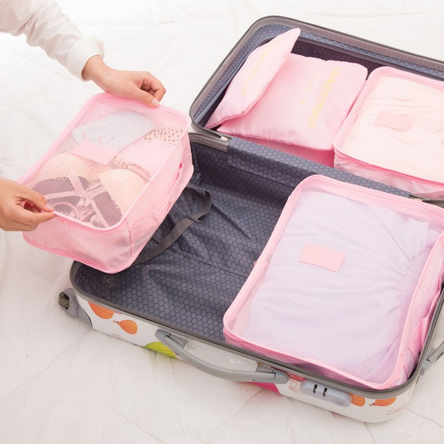 Travel Bags Packing Cubes Organizer Fashion Double Zipper Waterproof Polyester
