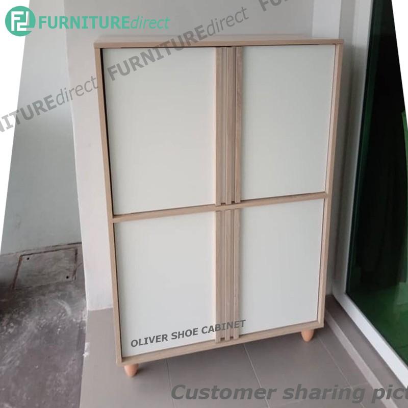 OLIVER 3 door shoe rack cabinet with waterproof legs/ kabinet kasut/ rak kasut/ rak kasut kayu