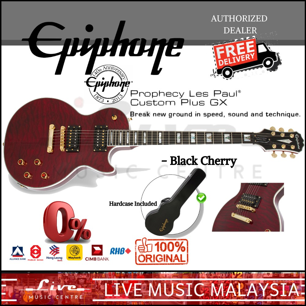 Epiphone Prophecy Les Paul Custom Plus Gx Electric Guitar Black Cherry Shopee Malaysia