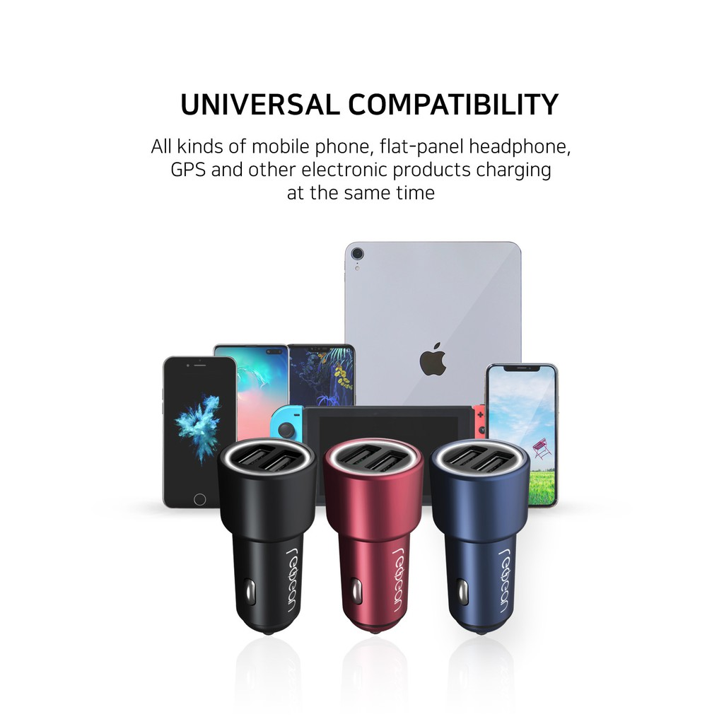 USB Car Charger REDBEAN QC 3.0 Max 36W Dual Full Metal Aluminum Cigarette Lighter with LED Compatible with iPhone 11 Pro Max XS XR X 8 7 Perfect Black Galaxy S10 S9 S8 Edge Note 10 9 8 iPad LG