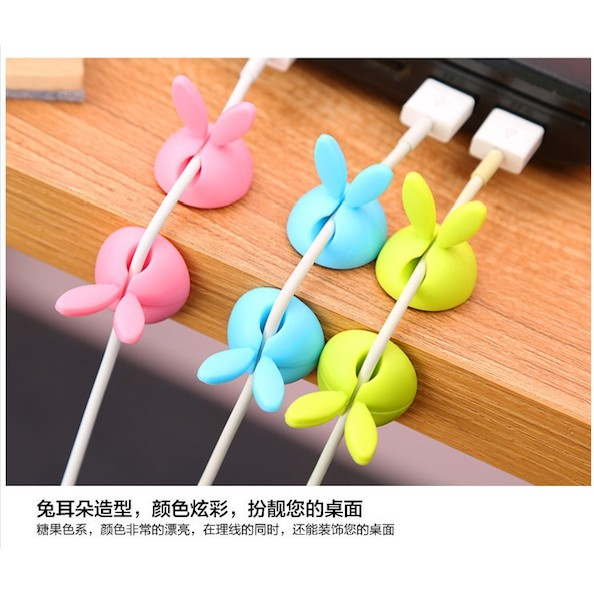 [READY STOCK] Mini Tidy Desk Silicone Organiser, Rabbit Cable Clips Holder, Wire Lead