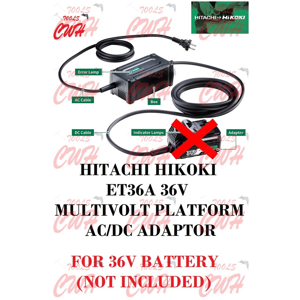 HITACHI HIKOKI ET36A 36V MULTIPORT PLATFORM AC/DC ADAPTOR RP3608DA DH36DPA G3610DA G3610DB DV36DA DH36DMA WR36DA WR36DB