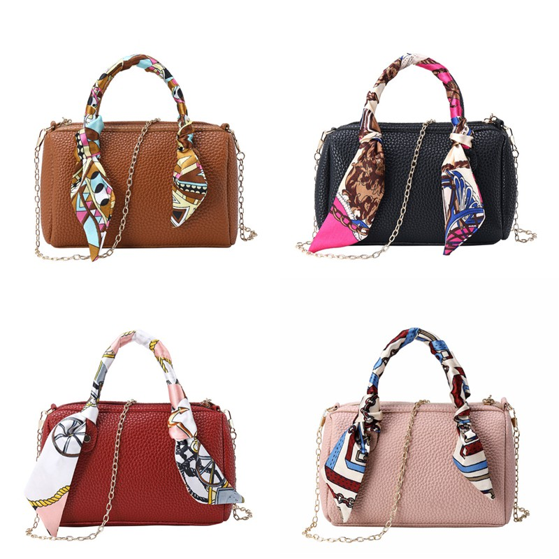 [Ready Stock Promotion] 2019 New Women Fashion Chain Scarf 4 Color Sling Bag