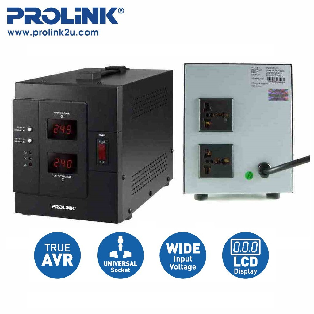 PROLiNK 2KVA / 1600W Heavy Duty AVR Auto Voltage Stabilizer PVR2000D