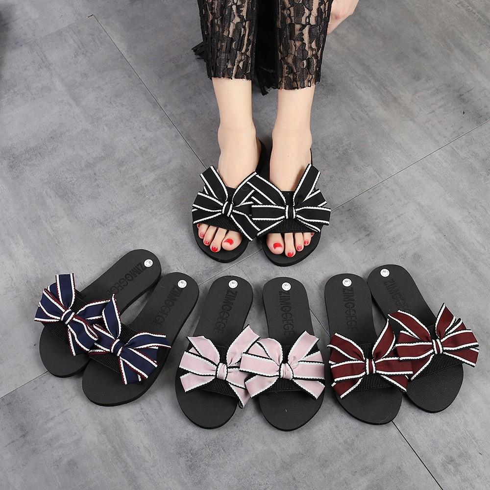 4b115c34ee2e7 Women Bow Summer Sandals Slipper Indoor Outdoor Flip-flops Beach ...