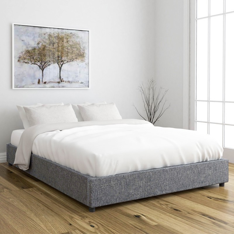 OWEN Queen Size Fabric Platform Bed Base kayu fabric katil queen frame  Dark Grey color light grey ready stock