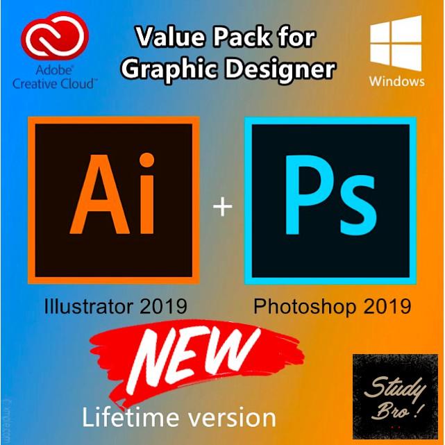 [Graphic Design Package] Adobe Photoshop CC + Illustrator CC 2019 VALUE PACK