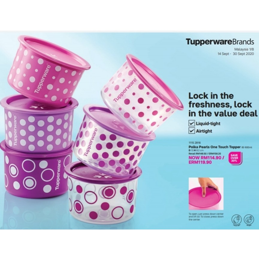 Tupperware : Polka Pearls One Touch Topper ❤Ready Stock❤*