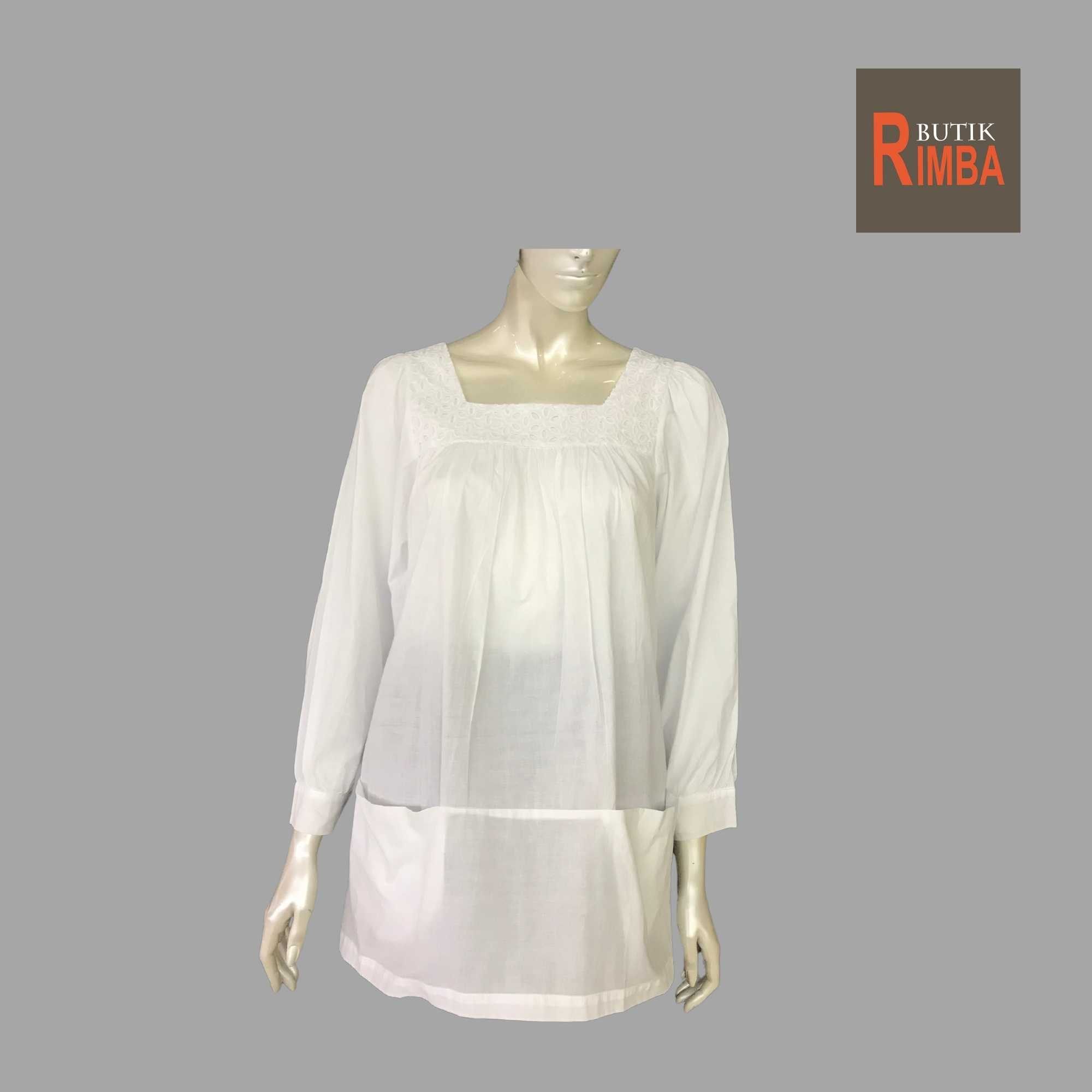 WOMEN CASUAL AND COMFORTABLE WHITE BLOUSE COTTON FREE SIZE PATTERN 08