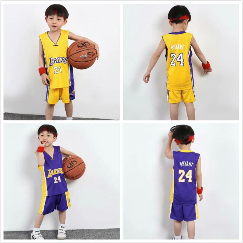 Children NBA Lakers Jersey #24 Kobe Bryant Jersey Kids Tops Pants ...