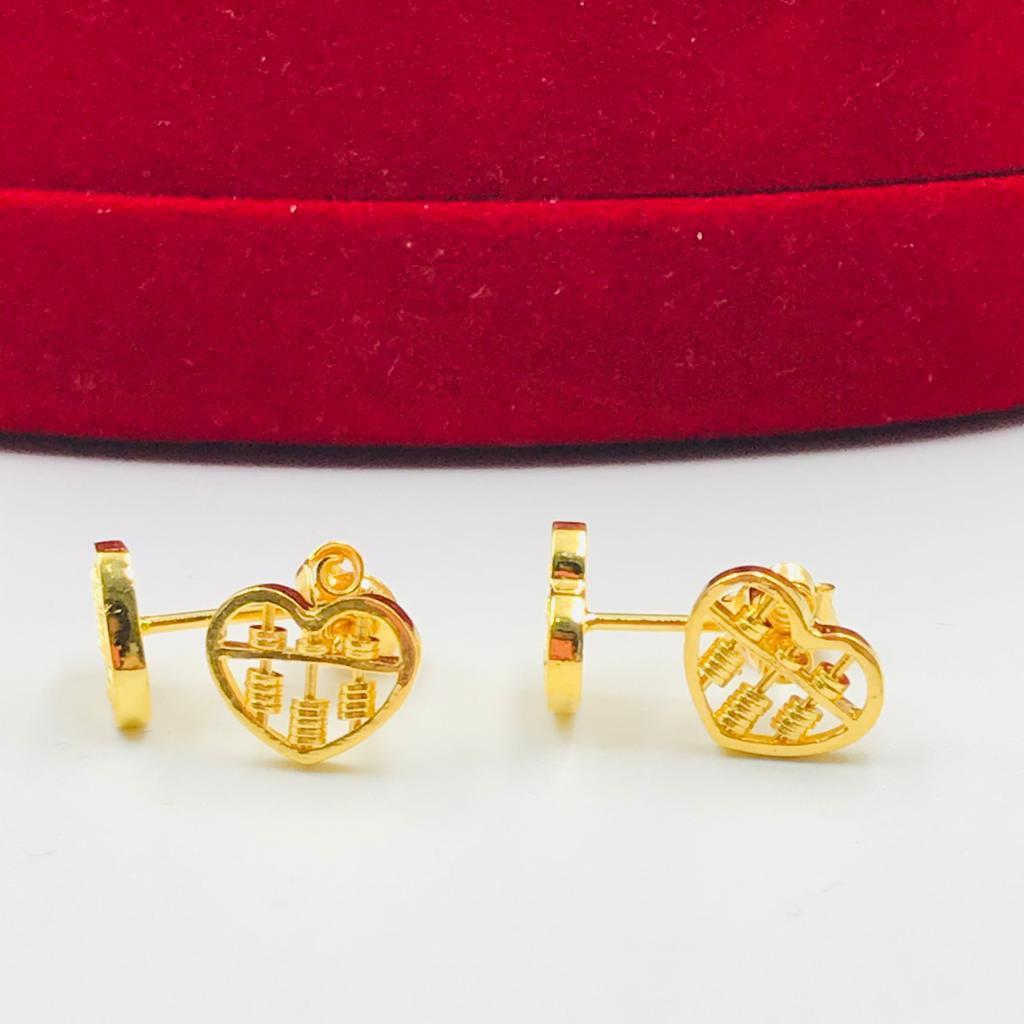 Subang Paku Love Sempua/Love Abacus Earring (Emas 916)