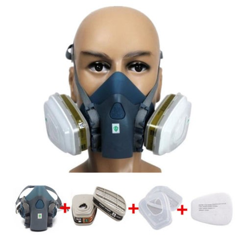 Spray Paint Mask >> Navy Blue 7 In 1 Set Silicone Half Mask Respirator Spray Paint Mask Gas Mask