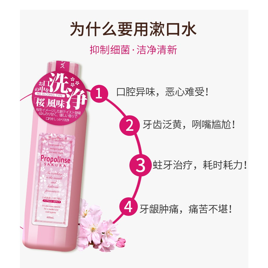 READY STOCK】Japan Propolinse Natural Oral Mouthwash (Sakura/Pink) 日本蜂胶漱口水  600ml | Shopee Malaysia