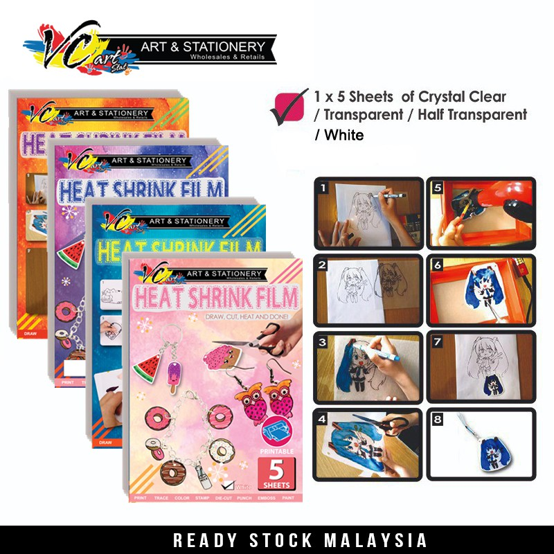 Shrink Art Craft Pack A4 CRYSTAL CLEAR Shrink Plastic Sheets
