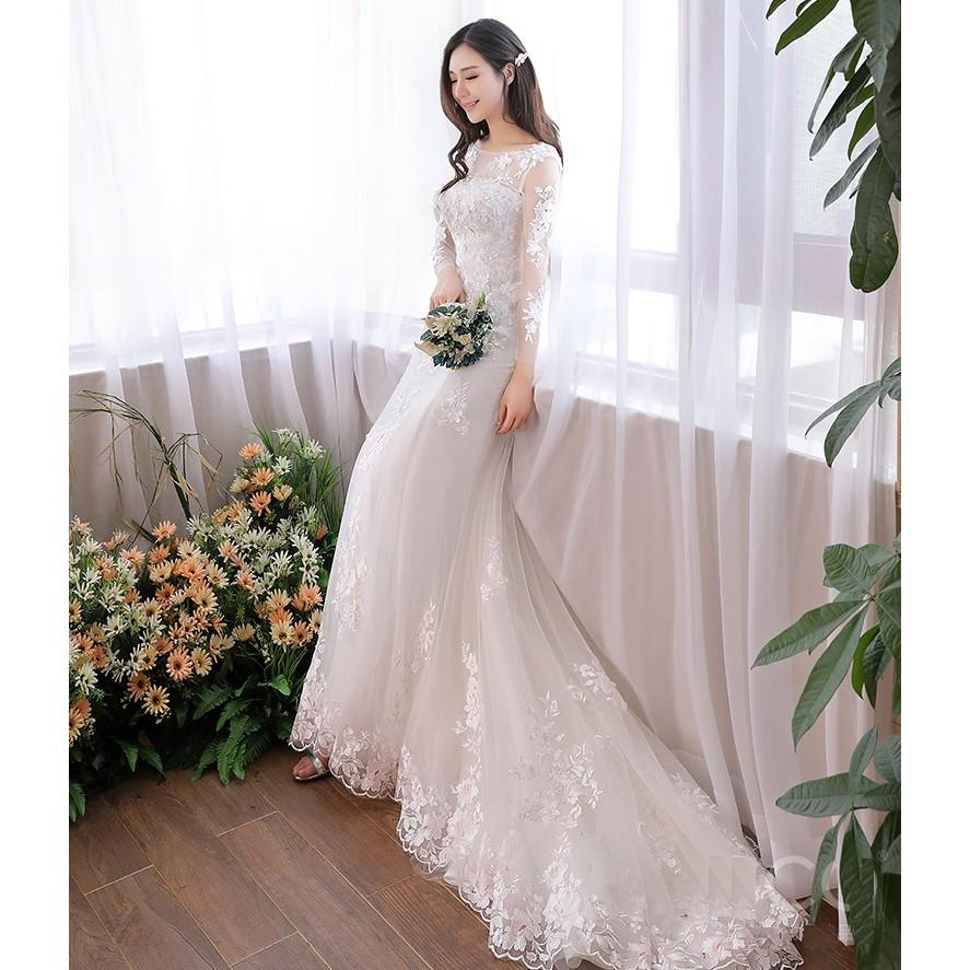 BEAUNIQUE Long Sleeve Muslimah Wedding Dress Baju Pengantin Mermaid