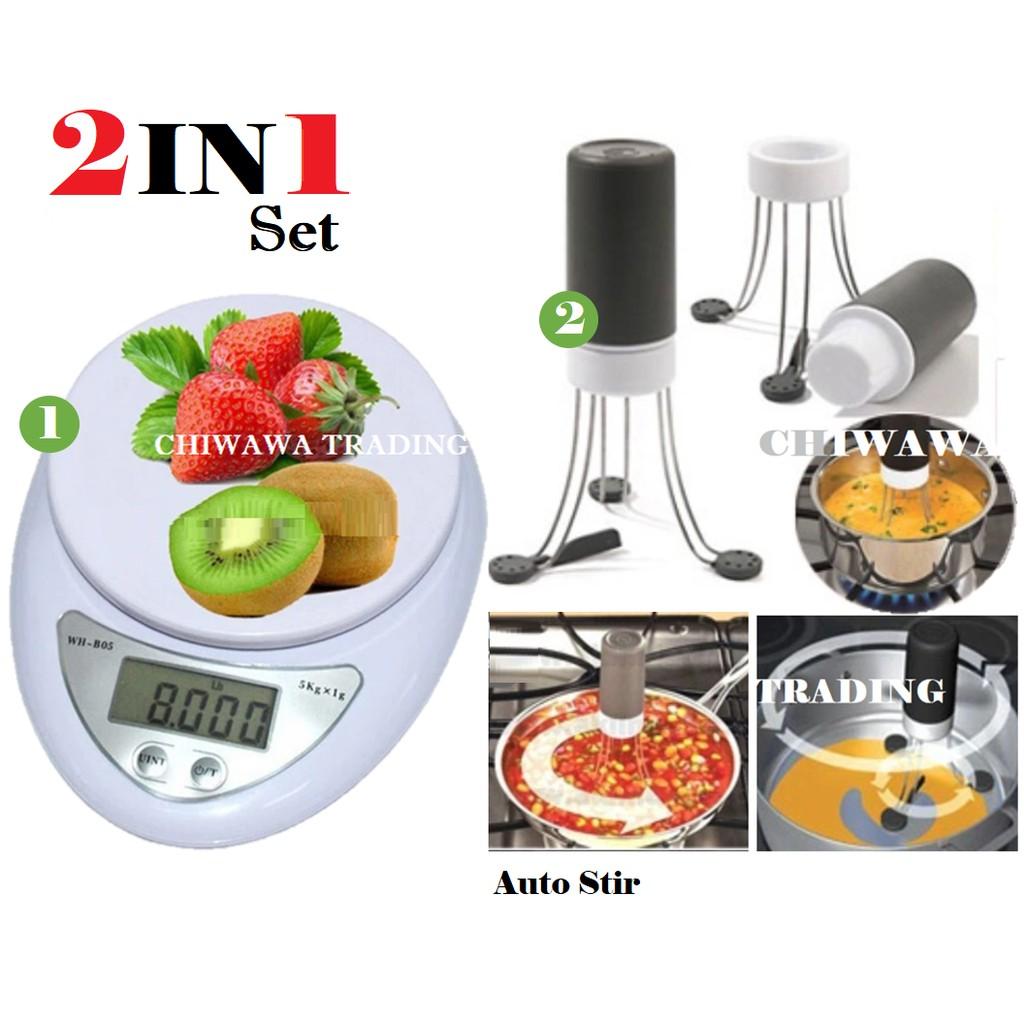 【2 IN 1】Electronic Digital Kitchen Scale 5kg + Stir Crazy Stirrer Blender Mixer