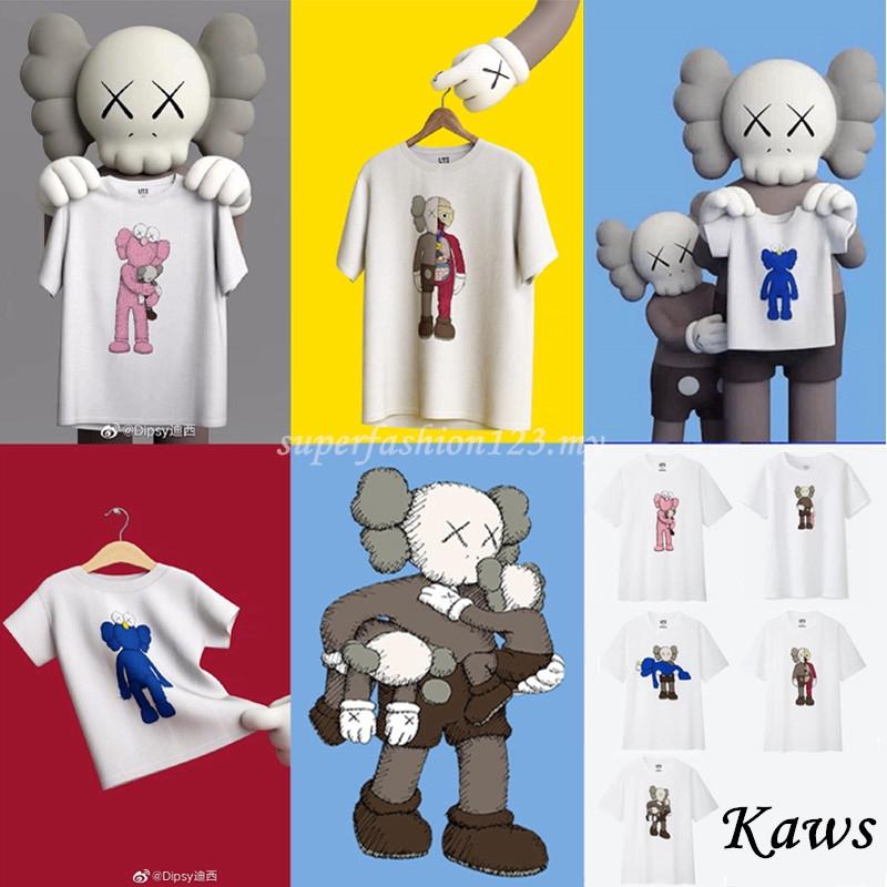 Uniqlo Kaws Cartoon 100% Cotton T-shirt Unisex Women Men Causal Short  Sleeve T-shirt Couple Tee