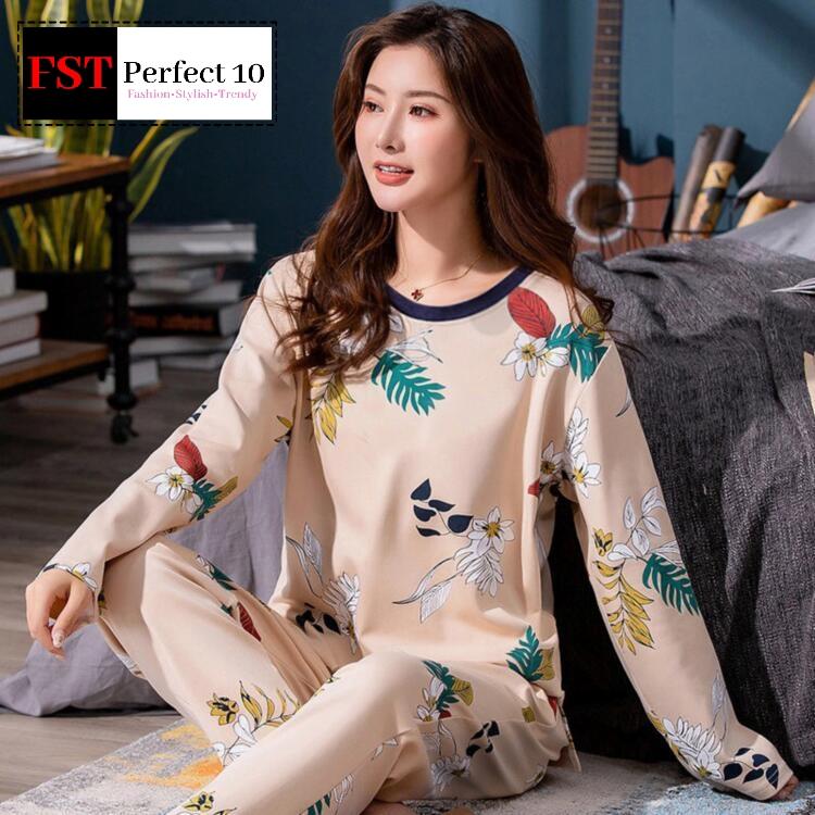 FST Silk Fabric Long Sleeve and Long Pant Full Printed Flower Pyjamas / Set Baju Tidur Elegant design [6038]