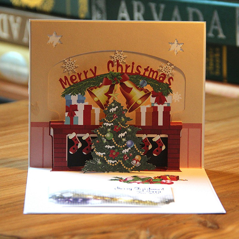 3D Pop Up Card Christmas Tree Bell Holiday Merry Christmas Greeting Cards