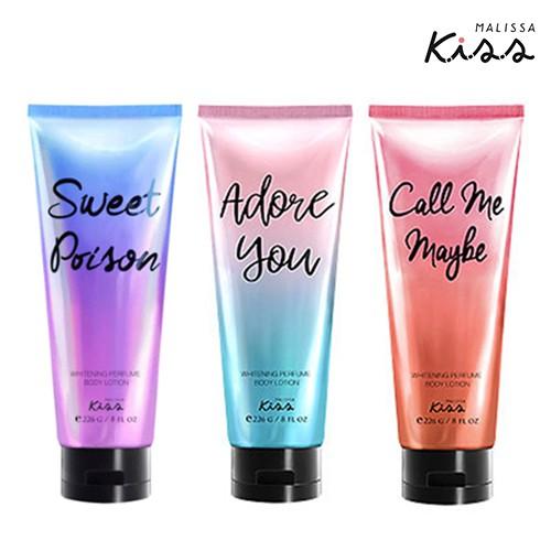ของเเท้ Malissa Kiss Whitening Perfume Body Lotion 226g. โลชั่นตัวหอม มาลิสสา คิส ค่าส