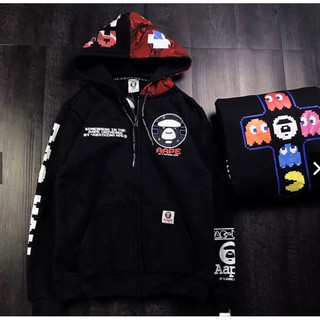 60fb0d053 A/Bathing Ape Pac-Man Mosaic BAPE Hoodie Black Pullover Drawstring Hooded  Sweats