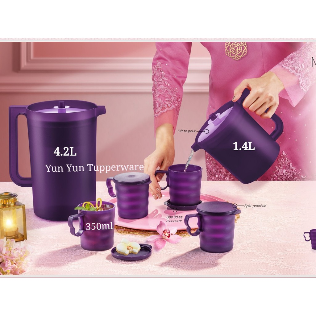 🔥READY STOCK🔥Tupperware Purple Royale Pitcher 4.2L or 1.4L / Mugs with Seal / Deep Plate / Bowl / Treat Plate