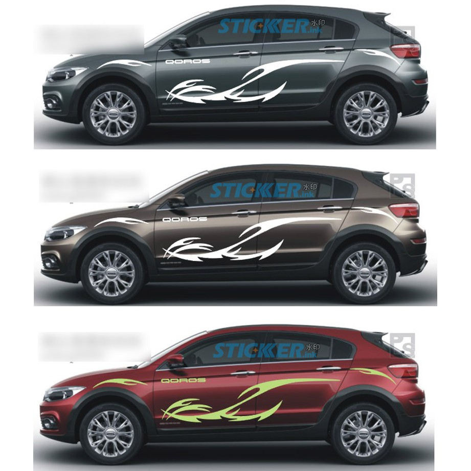 View to 3 guanzhi 5 suv car stickers body waist line stickers pull flower color shopee malaysia