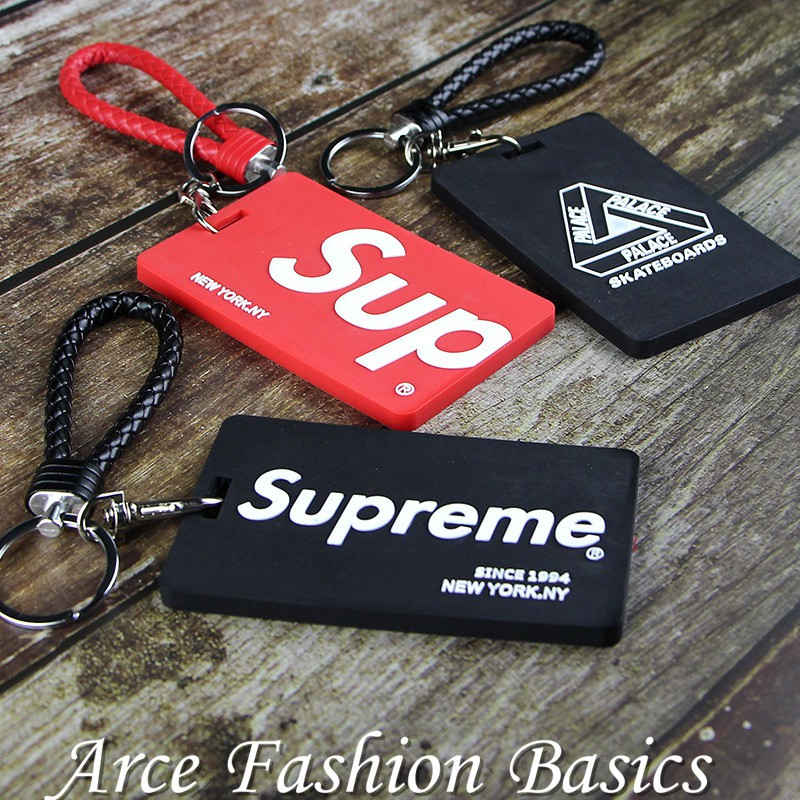 Supreme Fashion Key Chain Rings Silicone Sports Style Student Office ID  Card Holder