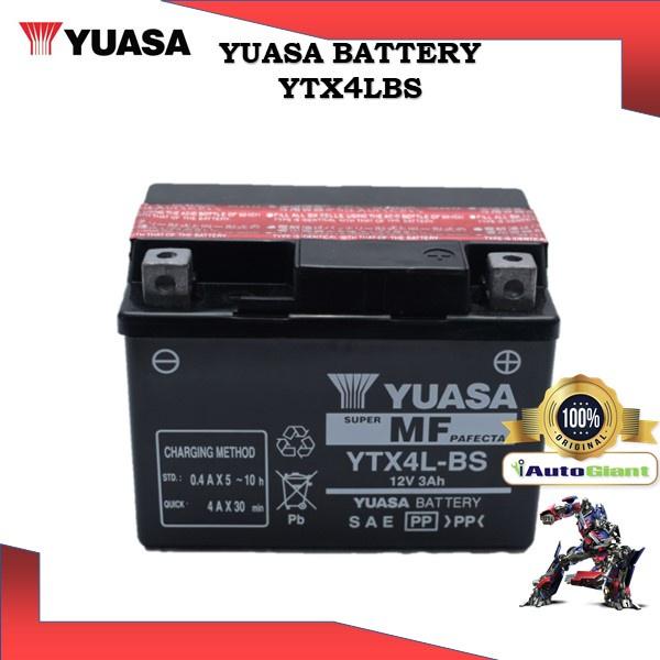 YUASA BATTERY YTX 4LB-S HONDA WAVE/CLICK/SUZUKI REVO/MODENAS XCITE/YAMAHA NOUVO