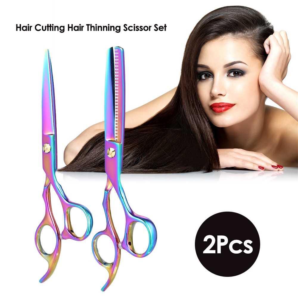 2Pcs Hair Cutting Set Hair Thinning Scissor Hair Shear Kit for Hairdressing Salon Haircut Tool for Adult & Children (St