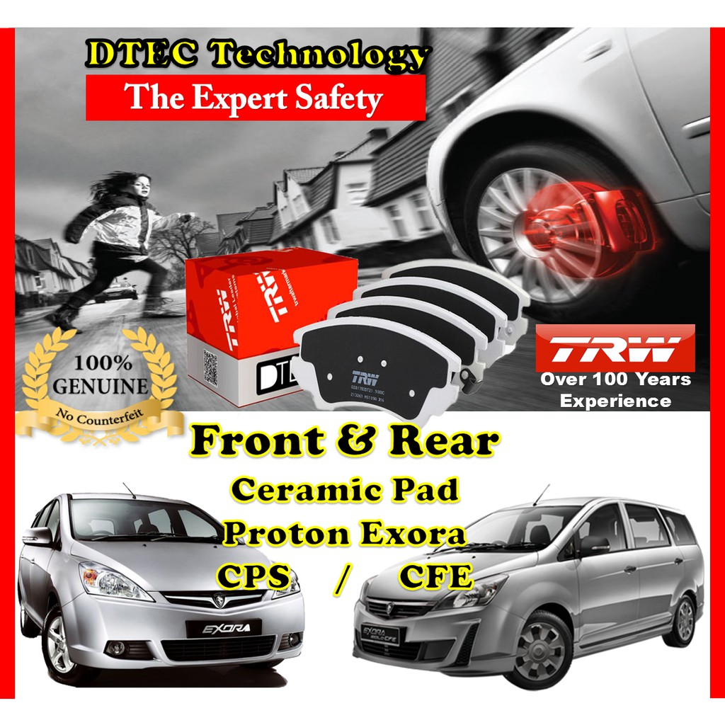 Proton Exora CPS CFE Bold TRW DTEC Ceramic Brake Pad Front & Rear Pair  Specialist
