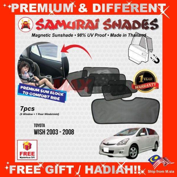 [FREE Gift] TOYOTA WISH LEGEND 2003 - 2007 SAMURAI SHADES THAILAND CAR FULLY MAGNETIC SUNSHADES SUN SHADE