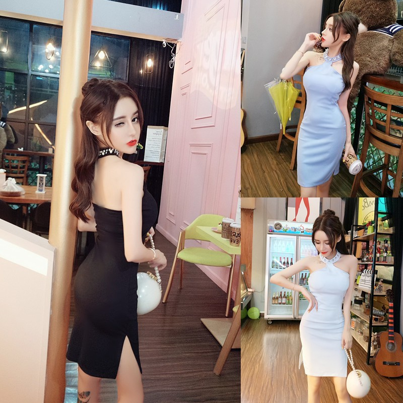 e2a4214125e67 hanging neck dress skirt Slim bag hip split tube top dress technician  clothing