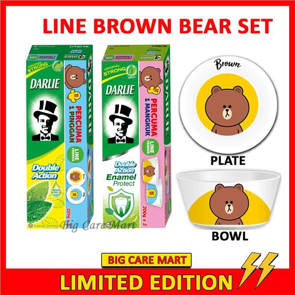 Darlie Double Action + Enamel Toothpaste + LINE Brown Bear Bowl Plate