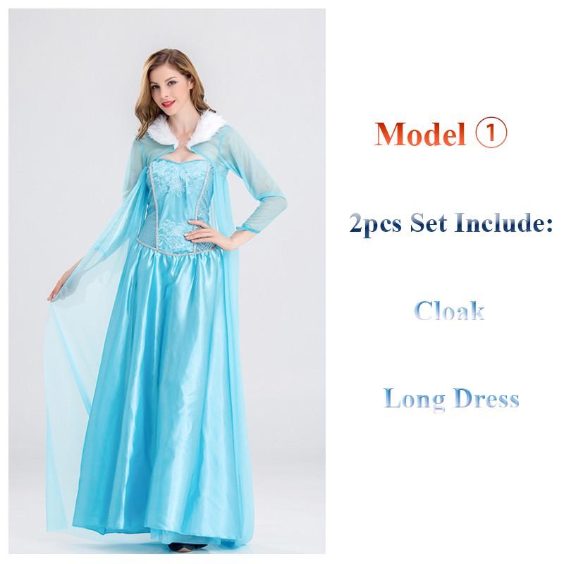 0a033ea51b41b Halloween Women Adult Queen Frozen Elsa Anna Princess Dress Costume ...