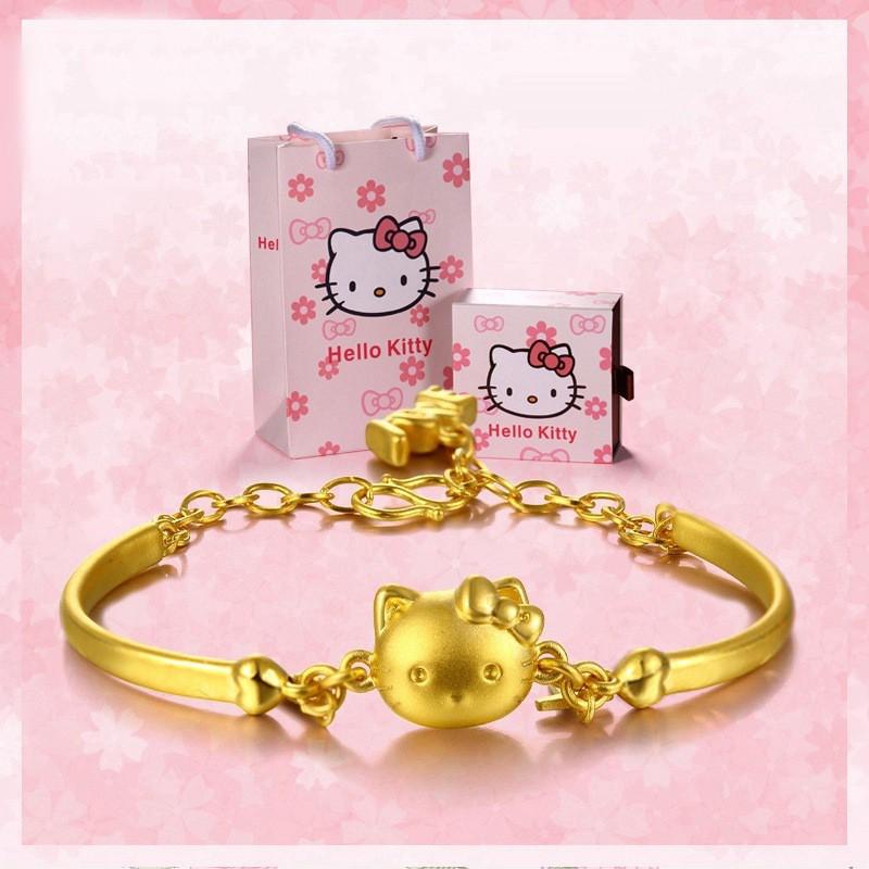 94c98403a Hello Kitty bracelet plated 3D hard 24k gold jewelry female bracelet    Shopee Malaysia