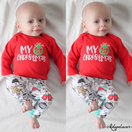 5158a732bf54a KAS-Toddler Baby Boys Girls My 1st Christmas Tops Romper Pants Hat Outfits
