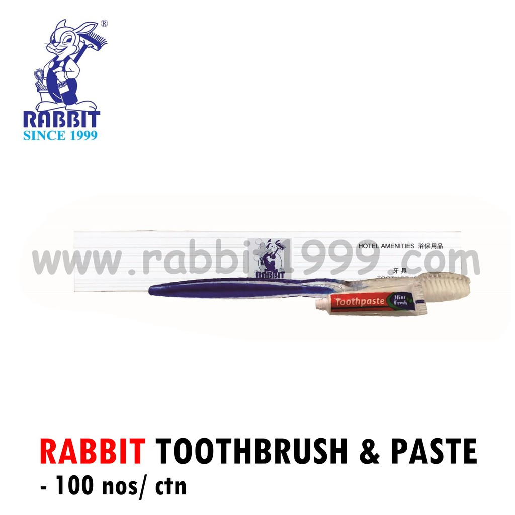 RABBIT TOOTHBRUSH & PASTE (100nos/ ctn)- travel toothbrush/ hotel toothbrush/ hotel amenities